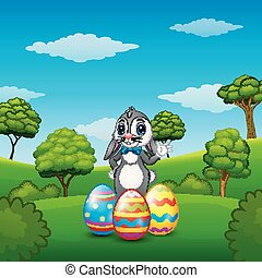Cartoon bunny waving hand with Easter eggs in the park