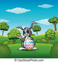 Cartoon bunny waving hand with holding Easter eggs in the park