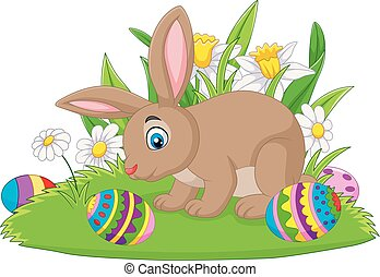 Cartoon bunny with Easter egg on the grass