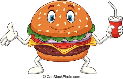 Cartoon burger holding a cup of soda