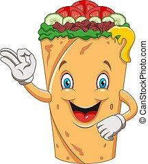 Cartoon burrito or kebab giving ok sign