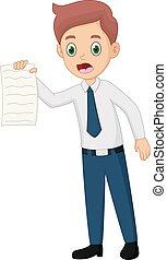 Cartoon Business Man Holding Paper