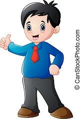 Cartoon businessman giving thumbs up