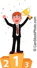 cartoon businessman holding a golden cup with confetti