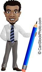 Cartoon businessman holding a pencil