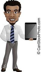 Cartoon businessman holding a tablet