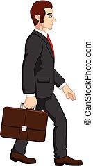Cartoon businessman holding briefcase