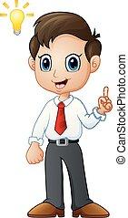 Cartoon businessman thinking a new idea
