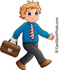 Cartoon businessman walking with briefcase