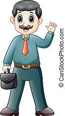 Cartoon businessman with briefcase