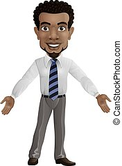 Cartoon businessman with open arms