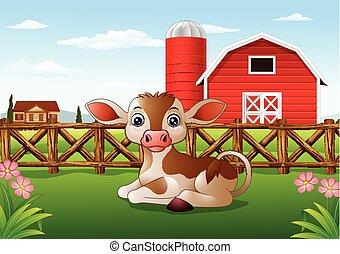 Cartoon calf with farm background