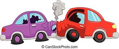 Cartoon car accident - Vector illustration of Cartoon car...