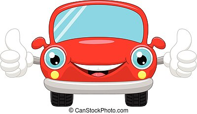 Cartoon car gives thumbs up
