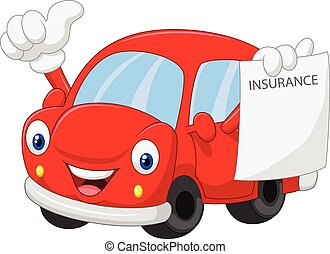 Cartoon car holding insurance paper