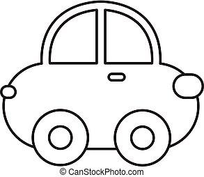Vector illustration of cartoon car. Outline cartoon car.