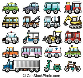 Car - Vector Illustration of cartoon Car set