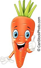 Cartoon carrot giving thumbs up - Vector illustration of...