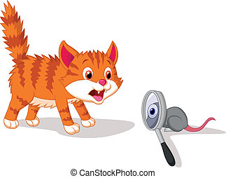 Vector illustration of Cartoon Cat afraid of mouse with magnifying glass
