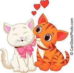 Vector illustration of Cartoon cat licking
