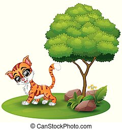 Cartoon cat under a tree on a white background