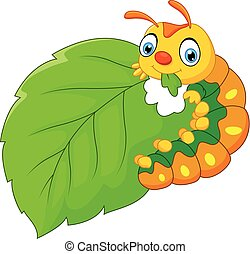 Vector illustration of cartoon caterpillar eating leaf