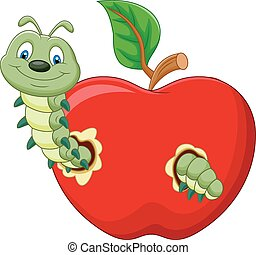 Cartoon Caterpillars eat the apple - Vector illustration of ...