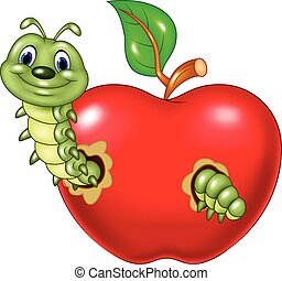Cartoon caterpillars eat - Vector illustration of Cartoon ...
