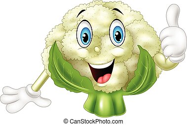 Cartoon cauliflower giving thumbs up