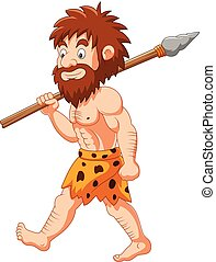 Cartoon caveman hunting with spear - Vector illustration of...