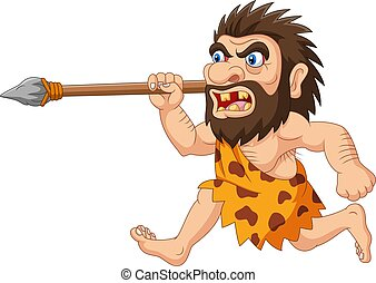 Cartoon caveman hunting with spear - Vector illustration of ...