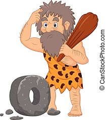 Cartoon caveman with stone wheel - Vector illustration of ...