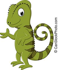 Cartoon chameleon posing