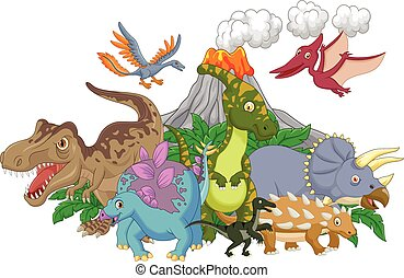 Cartoon character dinosaur - Vector illustration of Cartoon...