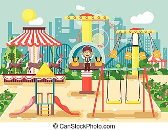 Vector illustration of cartoon character lonely boy child schoolboy resting in empty amusement park ride on swing, chain or horses carousel, roller coaster, extreme rest in flat style