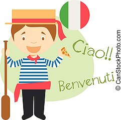 Vector illustration of cartoon character saying hello and welcome in Italian