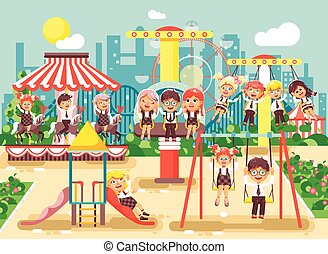 Vector illustration of cartoon characters children schoolboys schoolgirls classmates resting in amusement park ride on swing, chain or horses carousel, roller coaster, extreme rest in flat style