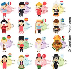 Vector illustration of cartoon characters saying hello and welcome in 16 different languages