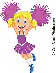 Cartoon Cheerleader with Pom Poms - Vector illustration of...