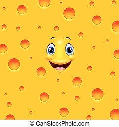 Cartoon cheese smiling
