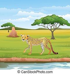 Cartoon cheetah in the Savannah