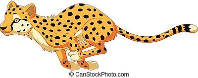 Cartoon cheetah running - Vector illustration of Cartoon ...