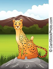 Cartoon cheetah sitting on a rock in African savanna