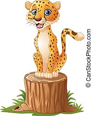 Cartoon cheetah sitting on the tree