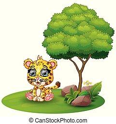 Cartoon cheetah sitting under a tree on a white background
