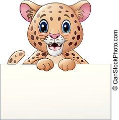 Cartoon cheetah with blank sign