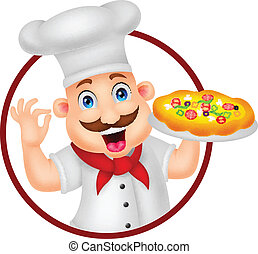Cartoon Chef Character With Pizza - vector illustration of...