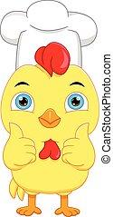 cartoon chef chicken thumbs up