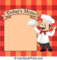 Cartoon chef holding