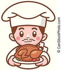 Roast Chicken - Vector illustration of Cartoon Chef ...